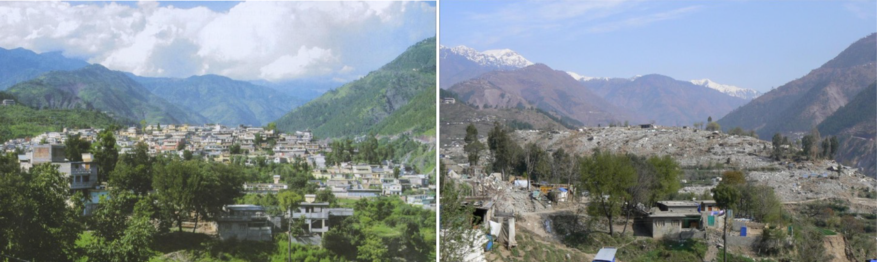 This is a valley/basin in Balakot, Pakistan which was completely flattened due to the 2005 Kashmir Earthquake