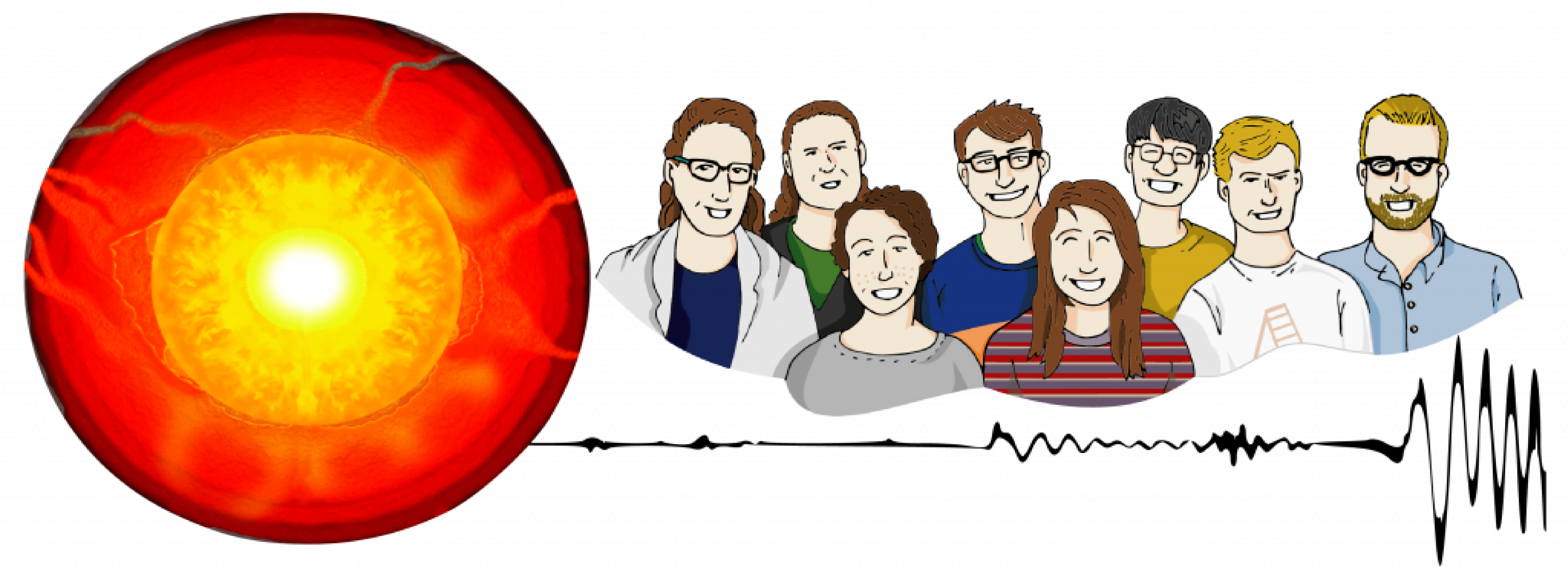Illustration showing members of the Deep Earth Explorers research team alongside a schematic of the Earth's interior and a seismic wave