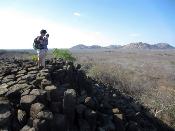 Marthe Klöcking and co-author André Guimarães in the Borborema province, Brazil, on the 8 million year old Cabelo de Negro volcanic edifice, showing columnar cooling structures; image credit Marthe Klöcking.