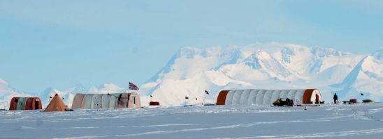 the ice core drilling camp at Fletcher Promontory