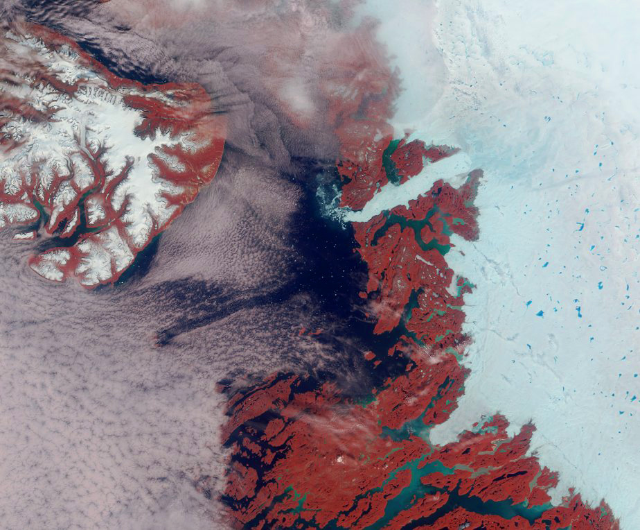 False-colour view of the area surrounding the Jakobshavn Glacier on the western coast of Greenland.