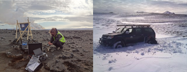 (left) a Cambridge volcano seismologist servicing a seismometer deployed on the sandplain with volcanic gas plume in the background, and (right) a 4 x 4 vehicle off-roading in the snow.