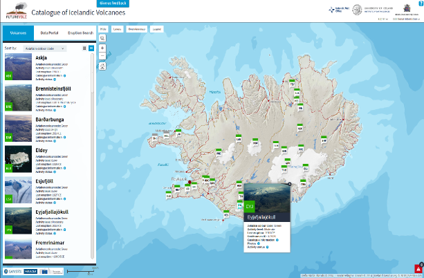 A screenshot of the FutureVolc Islandic volcanoes page