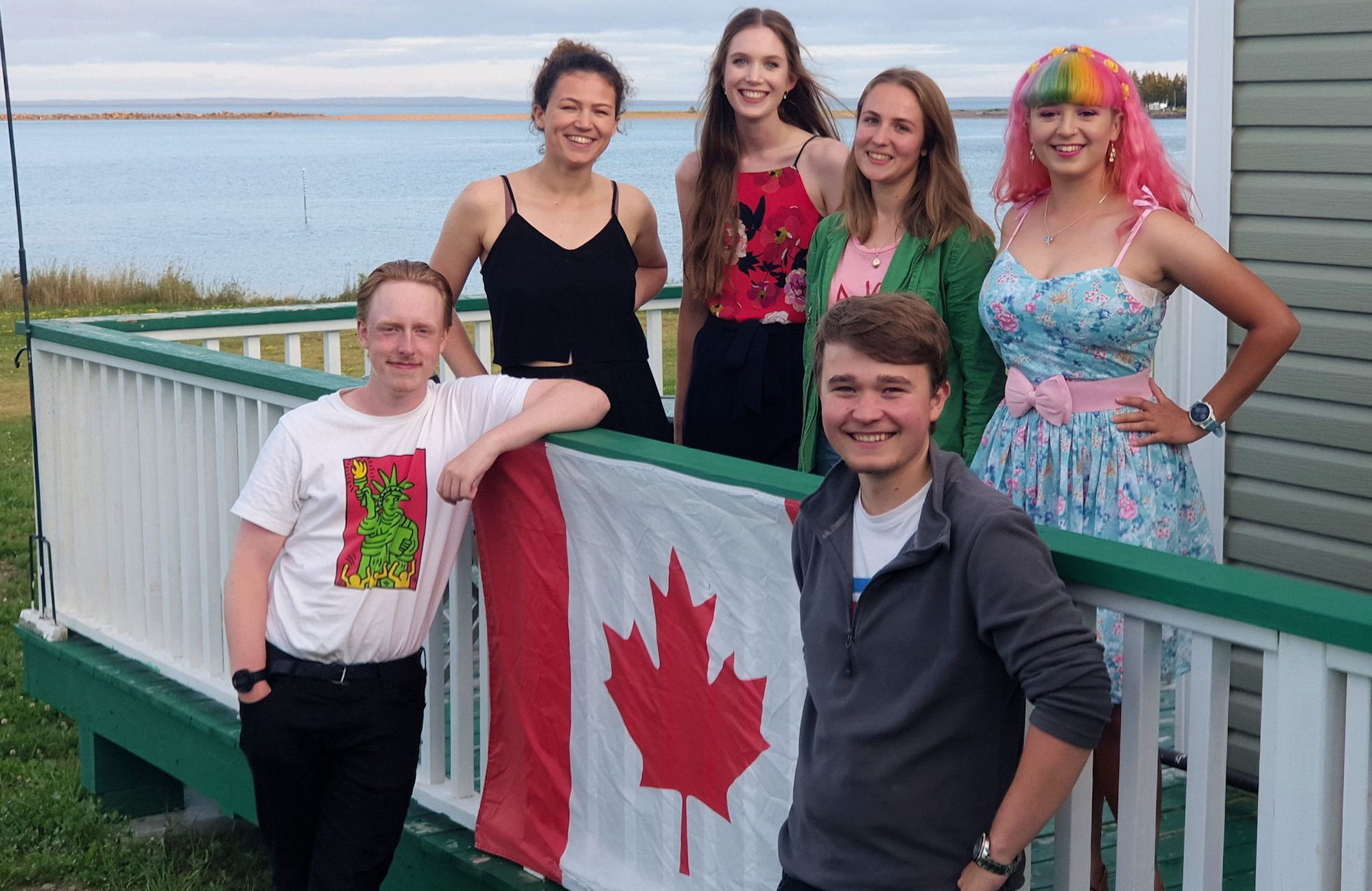 Photo of the Parrsboro mapping group in front of their coastal accommodation