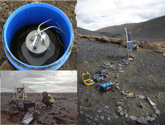Multi-photo panel showing a ground-deployed seismometer, and the deployment set-up of seismometer and solar panel power supply.