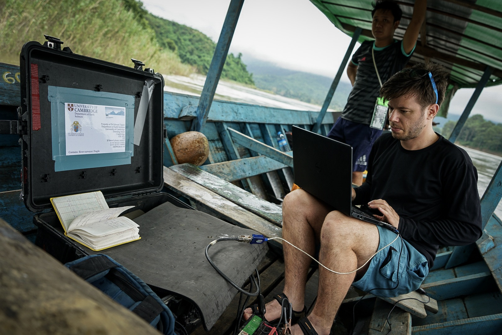 Image of Jotis measuring the flow of the Irrawaddy River