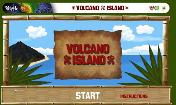 A screenshot of Volcano Island game