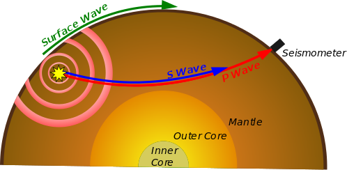 A schematic showing seismic wave paths through the Earth, from epicentre to seismic station.