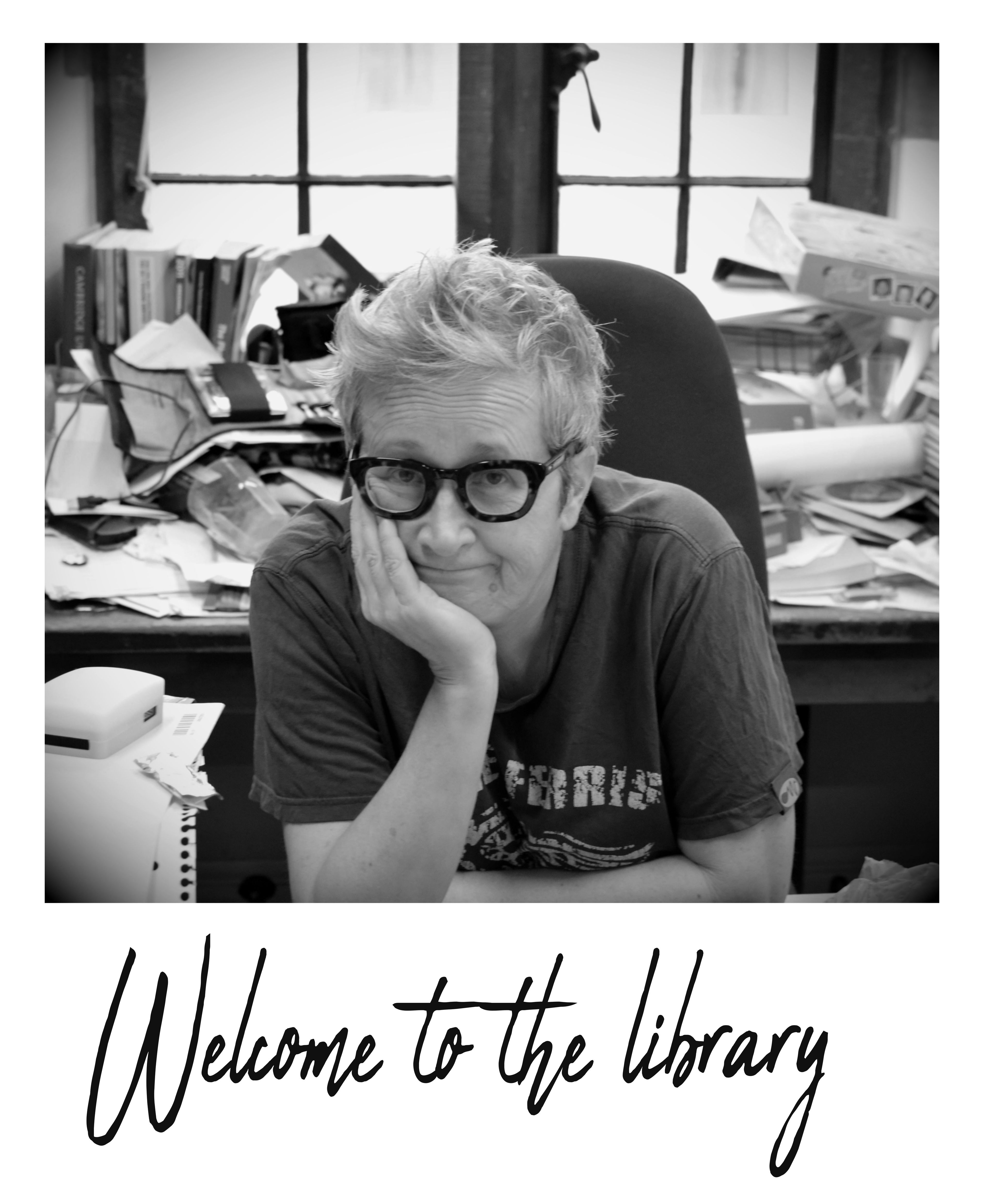 Picture of the librarian and the words welcome to the library