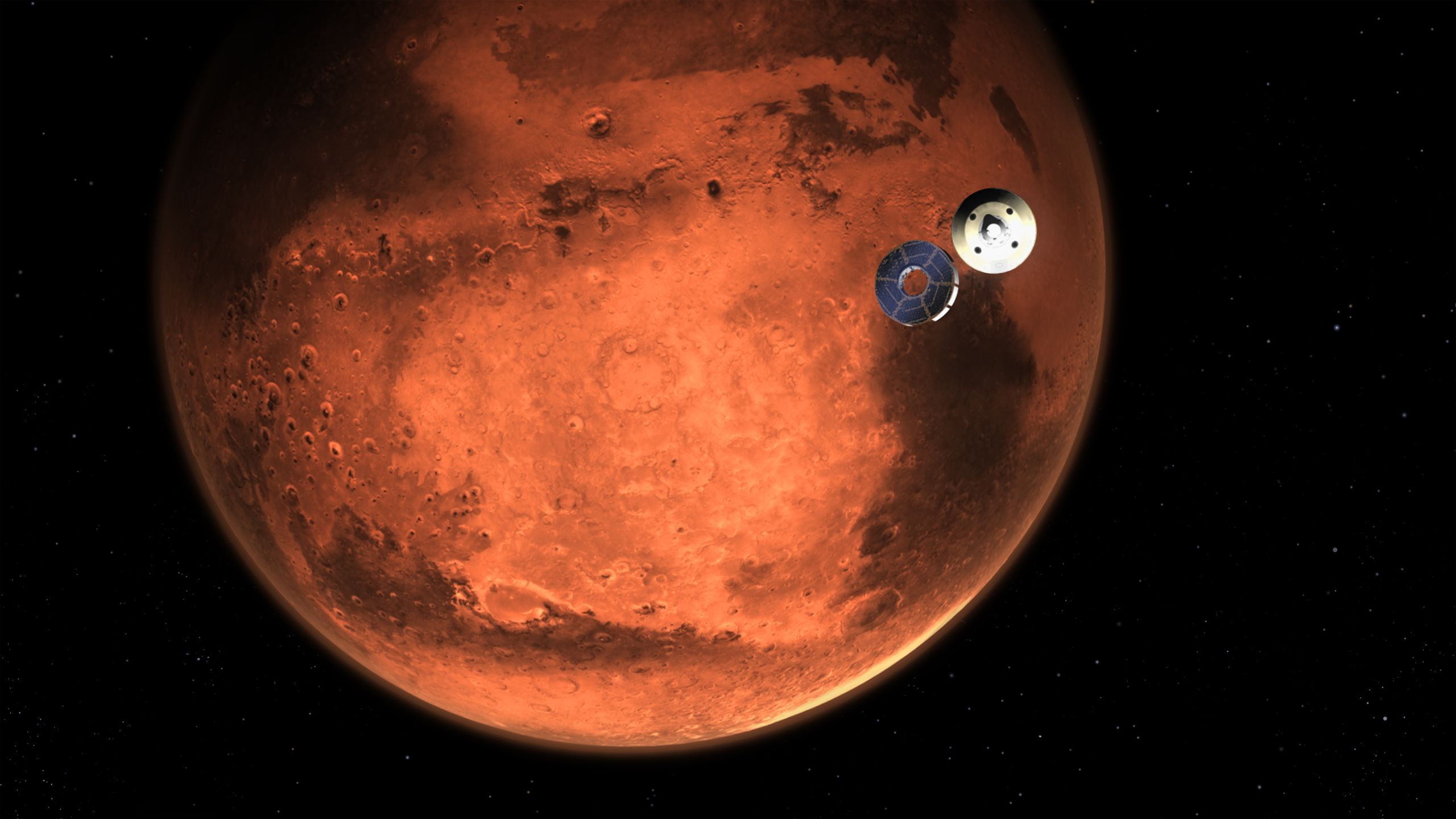 Image of the Perserverance Rover entering the Red Planet's orbit