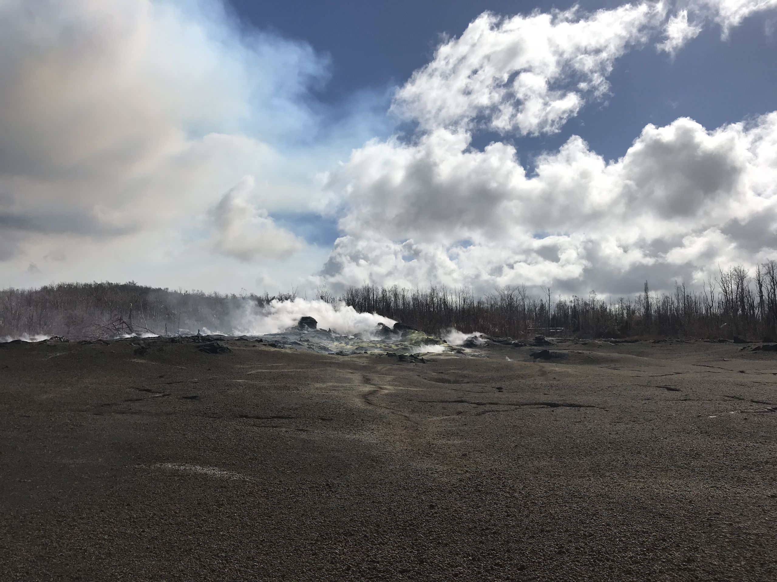 Gases belch out of fumarole vents near the 2018 eruption site.