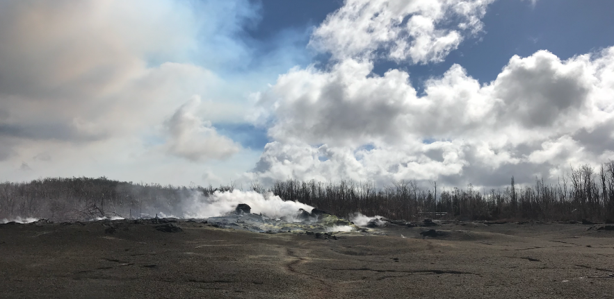 Image of gases belching out of fumaroles near the site of the Kīlauea eruption
