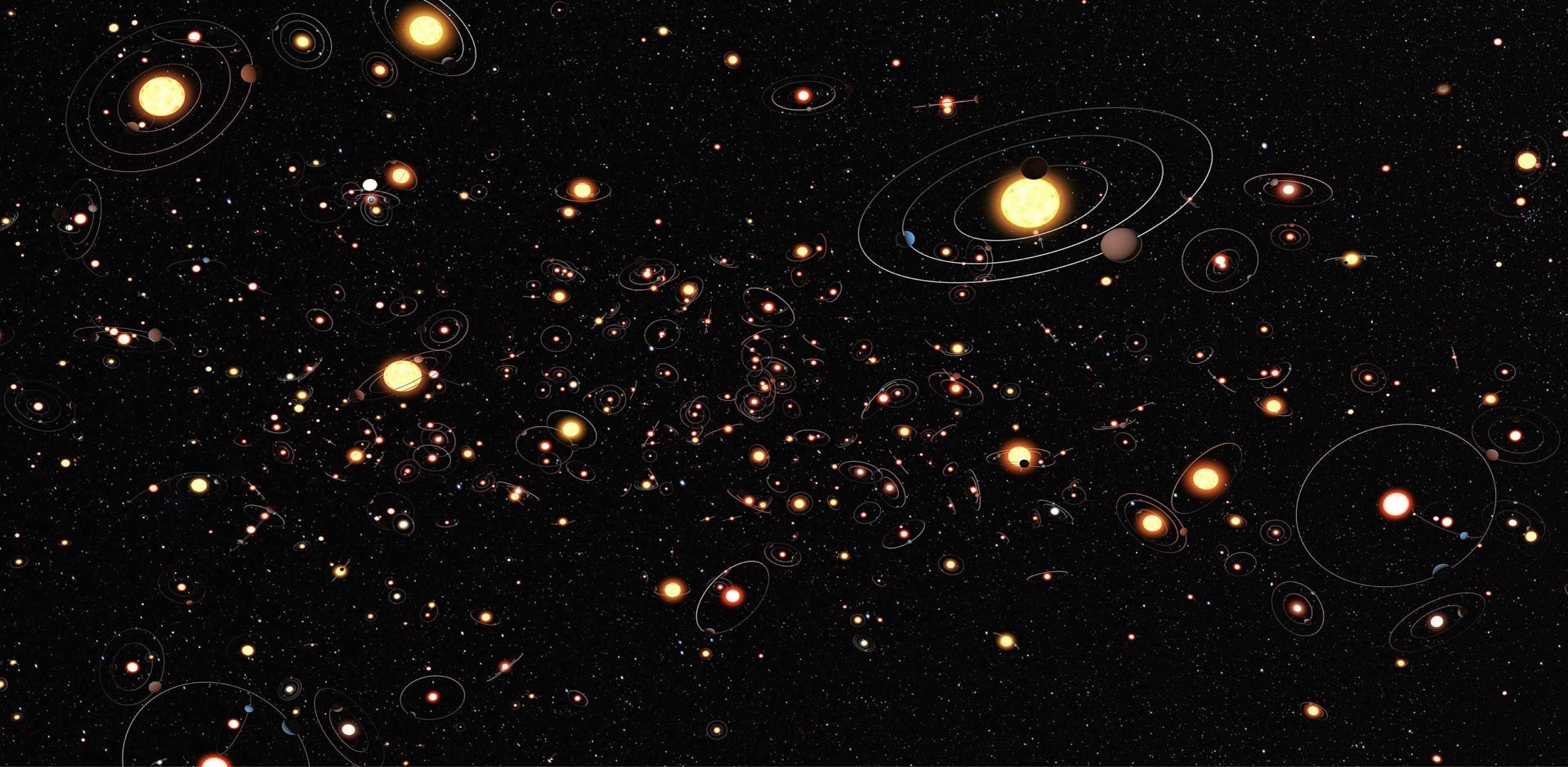 Artist's impression of planets and their orbits