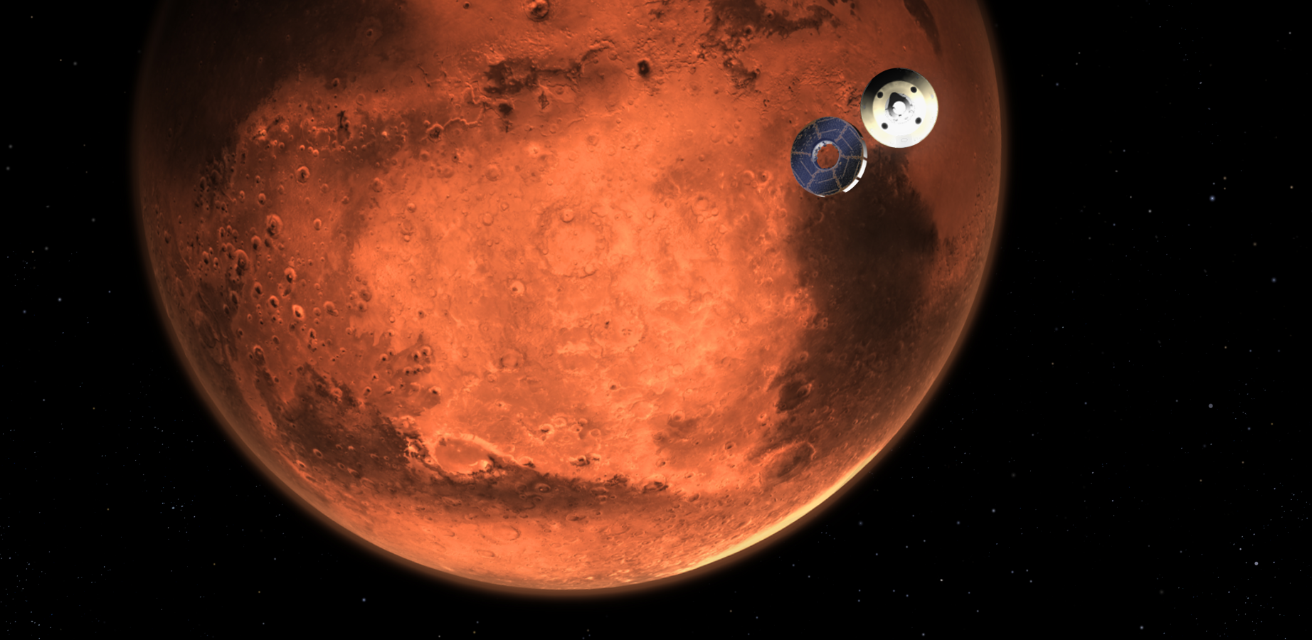 Image of the Perserverance Rover approaching its landing, with the Red Planet looming behind