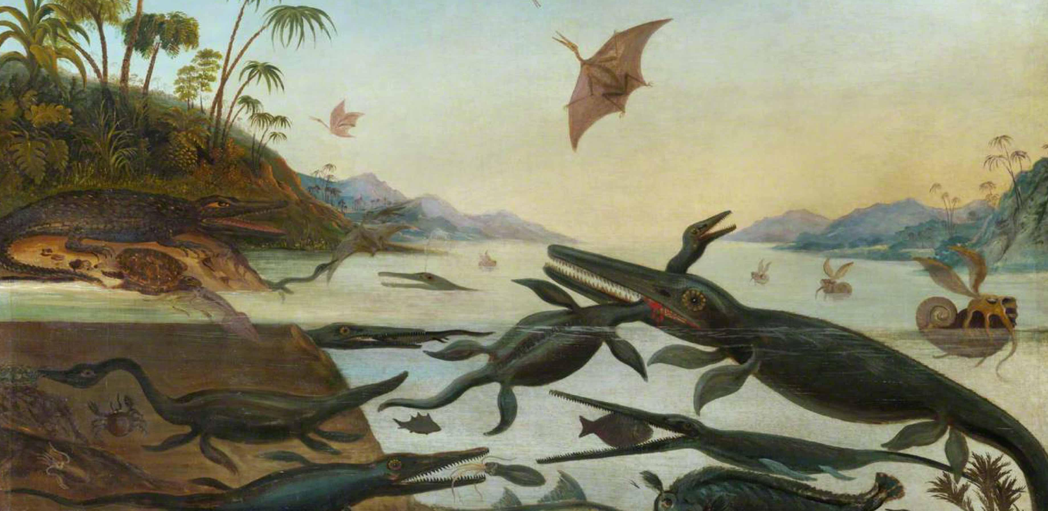 Painting of Ancient Dorsetshire 'Duria Antiquior' by Robert Farren, showing a range of sea creatures snapping away at fish alongside a forested coast.