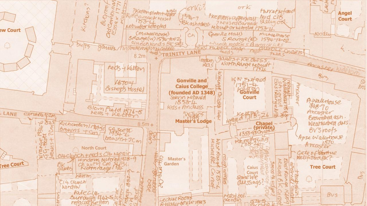 Close up image of the building stone survey of Cambridge, with different stone types annotated on the map