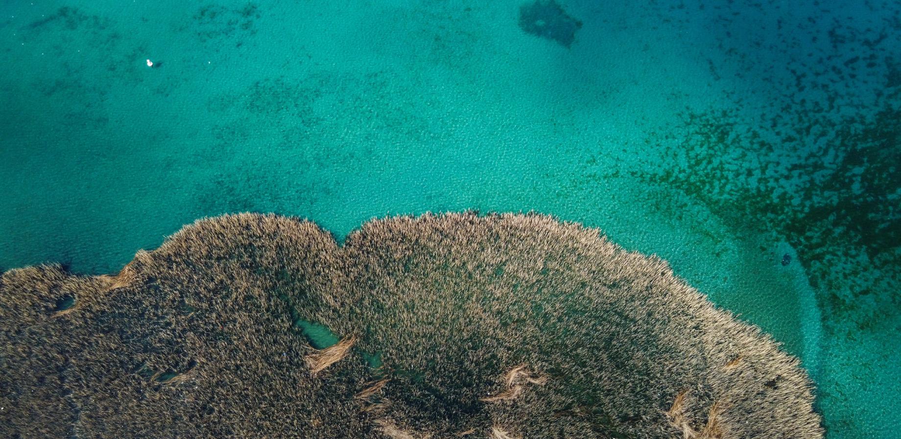 Aerial photo of Lake Ohrid Macedonia; image credit Shutterstock Ljupco Dzambazovski