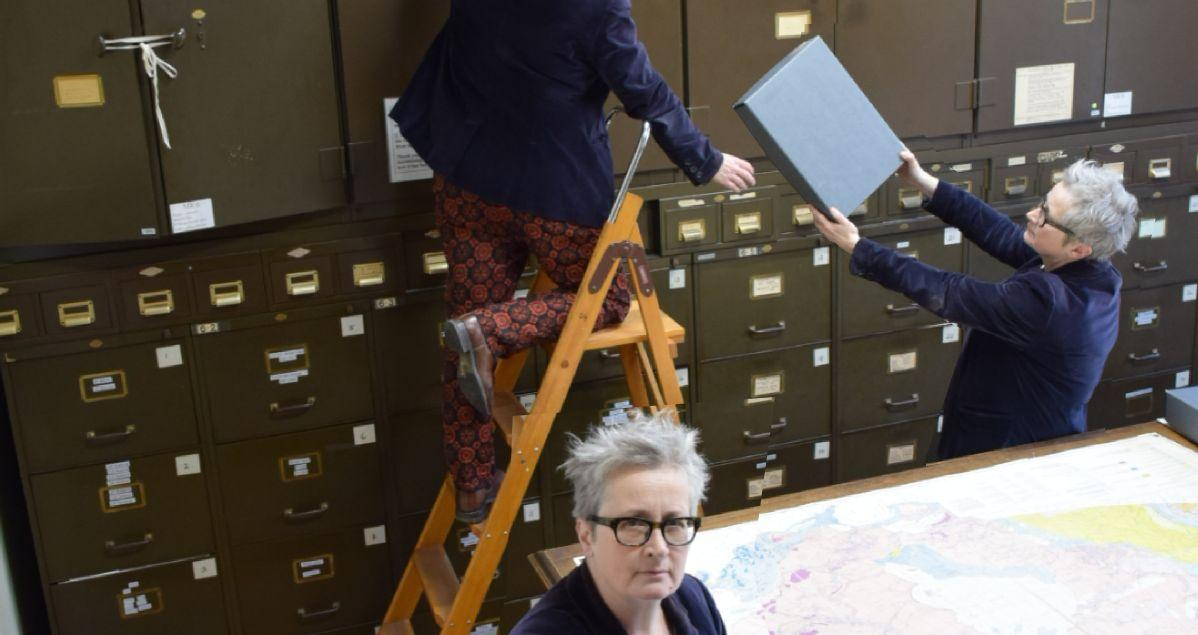 Librarian in the map room