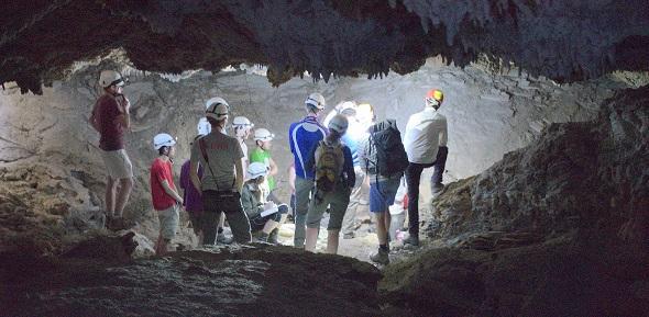 Students in the Yesares Gypsum karst/Caves (Cueva Covadura)